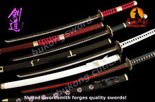 One Piece Cosplay Anime Sword Roronoa Zoro 4 pieces katana Sets Carbon Steel