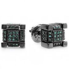 0.25 CT Black Rhodium Plated Silver Blue Diamond Mens Dice Shape Stud Earrings