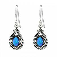 925 Sterling Silver Oval with Pacific Blue Opal Gemstone Drop/Dangle Earrings