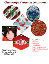 Lot of 8 Clear Acrylic Christmas Ornament With your Photos