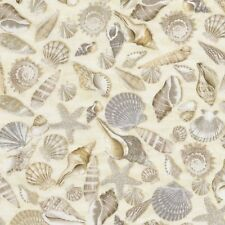 Cotton Quilt Fabric Beach Haven C5353 Seashells Timeless Treasures by the yard