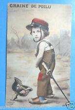 """Vintage """"Graine De Poilu"""" Little Boy Peeing in a Helmet  France Postcard"""