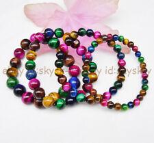 Gemstone Beads Elastic Bracelet 7.5'' 8mm Multi-color Natural Tiger's Eye Round