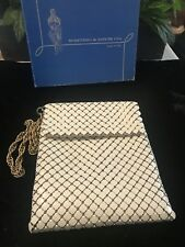 ***Whiting & Davis Vintage White Mesh Bag Long Gold Chain w Box USA