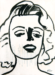 Marilyn Monroe Original Painting on Antique French Paper Art Neal Turner NR