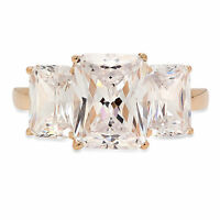 4 ct 3Stone Emerald Cut Classic Engagement Bridal Solitaire Ring 14K Yellow Gold