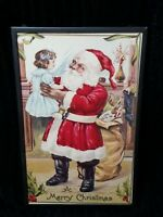 Reproduced 1911 Vintage Christmas Postcard framed Santa and Child  New in Box