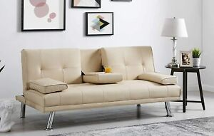 Sofa Bed Faux Leather Cupholder 3 Seater Black, Brown or Cream Chrome Legs