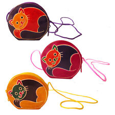 Cat Coin Purse Lot Of 6 Wholesale Leather India Shantiniketan Bag Girls Gift