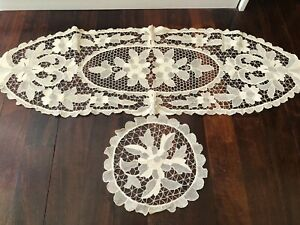 Collection of Cream Vintage Lace Embroidered Doilies Round & Oval Matching Set