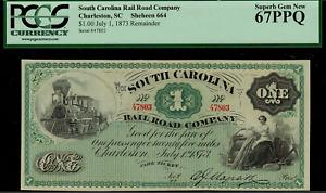 1873 $1 Charleston, South Carolina RailRoad Co - Fare Ticket Graded - PCGS 67PPQ