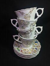Rosanna ~ Porcelain Tea Cup and Saucer (8) Piece Set With Original Box ~ Vibrant