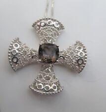 "Sterling silver maltese Cross pendant 18"" sterling silver Italian chain"