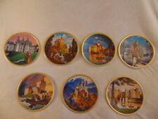 Romantic Castles Of Europe Plate Collection 7 pc SET Gold Trim #d Neuschwanstein