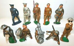 Old MANOIL & BARCLAY 1930s Dimestore Lead Soldiers, Assorted Figures, 10 Pieces