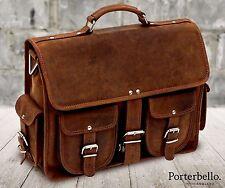 Handmade Hunter Leather Satchel Briefcase Laptop Messenger Bag RRP £129.99
