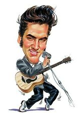 """Elvis Presley """"The King"""" Caricature 60's Rock & Roll Sticker or Magnet"""