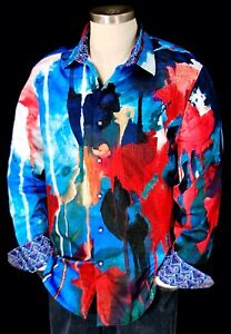 Robert Graham Running Colors NWT $298 Colorful Impressionist Sport Shirt XL