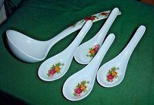 Asian Oriental Chinese Melamine 5pc Kitchen Soup Spoon Set Wonton Pho Decor NEW
