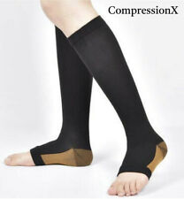 New Compression X COPPER  Socks OPEN TOE Knee High Leg Support Stockings (S-XXL)