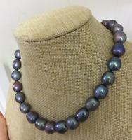 Atemberaubende 12-13mm Tahitian Black Green Barock Perlenkette 18inch
