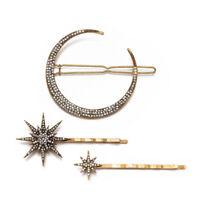 Girls Metal Hairpins Hair Accessories Star Moon Shape Rhinestone Hair Clips