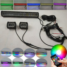 """20"""" INCH LED LIGHT BAR + 4"""" CREE Pods w/ Chasing RGB HALO RING Change Chase APP"""