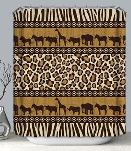 "African Safari Fabric SHOWER CURTAIN 70"" w/Hooks Leopard Zebra Brown Tan Animals"