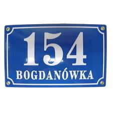 Hausnummer Emaille 15x25 cm Hausnummernschild  mit Wunschstraßennamen und Nummer