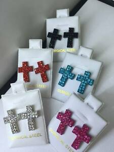 NEW! Surgical Steel Cross CZ Crystals Stud Earrings Easter Christmas Gift Idea