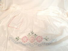 Vintage Apron Cross Stitched Pink Flowers & Greenery w/Pocket Linen Free Ship!!