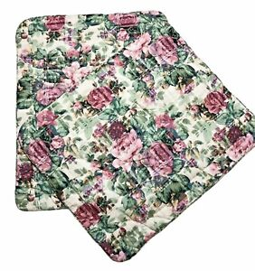 Vtg Thomasville Floral Pillow Shams Roses Quilted Cottage Shabby 20 x 26 Pair