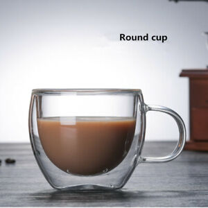 Handmade Explosion-proof Glass Coffee Mug Milk Cup Double Wall