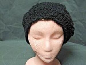 HAND CROCHETED BLACK HAT NEW