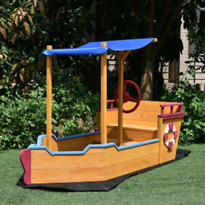 Pirate Boat Sandbox Kids Sandpit Wooden Outdoor Sand Pit With Canopy