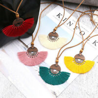 Women Bohemian Beaded Long Tassel Pendant Necklace Alloy Sweater Chain Jewelry S