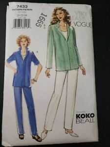 Vogue 7433 SEWING PATTERN size 20 22 24 Loose-fitting pants top - Koko Beall