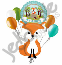 7 pc Woodland Fox It's a Baby Boy Animals Balloon Bouquet Party Decoration Blue