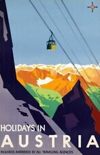 """Vintage Illustrated Travel Poster CANVAS PRINT Austria Skiing cable car 24""""X16"""""""
