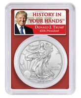 2019 1oz Silver Eagle PCGS MS70 Red Frame - Donald Trump Label
