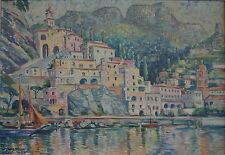 Wilhelm Landsmann, Amalfi, Öl auf Leinen, 1952, Originalrahmen