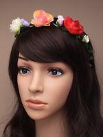 NEW Festival black fabric headband with multi flower and rosebud garland detail