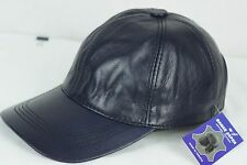 NAVY 100% GENUINE LAMBSKIN LEATHER Baseball Cap Hat Biker Visor Adjustable NWT
