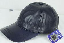 NAVY 100% GENUINE LAMBSKIN LEATHER Baseball Cap Hat Biker Visor Adjustable NWT
