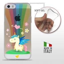 iPhone 5 5S SE TPU CASE COVER PROTETTIVA GEL TRASPARENTE Unicorno Arcobaleno