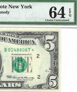 1969 $5 NEW YORK * STAR * ⭐️ FRN, PMG CHOICE UNCIRCULATED 64 EPQ BANKNOTE
