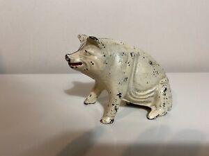 Antique Cast Iron Pig Boar Still Penny Bank Original Paint