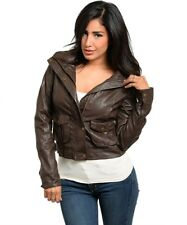 Women's Motorcycle PU Leather Jacket Zipper Coat Sexy Winter Autumn Slim Biker