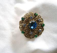 Vintage Layered Filigree Rhinestone Brooch Czech/Wst German? Unsigned Offer Sale
