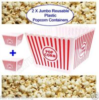 2x Large Jumbo Reusable Plastic Novelty Popcorn Boxes Tub Container Movie Snacks